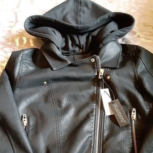 Faux Leather Jacket w/ Removable Hood